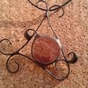 Lila drótos medál, Ékszer, Medál, Nyaklánc, Üvegolvasztással és tiffany technikával  készült medál, melyhez moretti üveget használtam f..., Meska