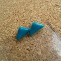 Türkiz háromszög  füli, Ékszer, Fülbevaló, Üvegolvasztással készült füli, melyhez spektrum üveget használtam fel.    Mérete: ca. 1,2x 0..., Meska