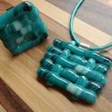 Kék fonott szett, Ékszer, Medál, Gyűrű, Ékszerszett, Üvegolvasztással készült szett, melyhez spektrum üveget használtam fel.    Medál méret: 4x3,2 cm szí..., Meska