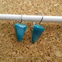Kék Irizáló háromszög füli, Ékszer, Fülbevaló, Üvegolvasztással készült füli, melyhez spektrum üveget használtam fel.    Mérete: ca. 0,9x1,..., Meska