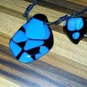 Kék folros szezt, Ékszer, óra, Ékszerszett, Üvegolvasztással készült medál, melyhez spektrum  üveget használtam fel.  Medál méret: 5x3...., Meska