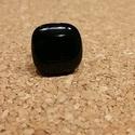 Fekete gyűrű, Ékszer, Gyűrű, Üvegolvasztással készült gyűrű, melyhez moretti üveget használtam fel.  Boltomban pöttyfül..., Meska