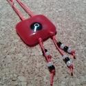 Piros fekete körök medál, Ékszer, Ékszerszett, Üvegolvasztással készült medál, melyhez moretti üveget és gyöngyöt használtam fel.  Medál..., Meska