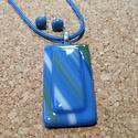 Kék tenger medál és füli, Ékszer, Fülbevaló, Ékszerszett, Nyaklánc, Üvegolvasztással készült medál, melyhez spektrum  üveget használtam fel. A medál mérete ca...., Meska