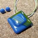 Kék tenger medál és füli 2, Ékszer, Medál, Fülbevaló, Üvegolvasztással készült medál és füli, melyhez spektrum  üveget használtam fel. A medál m..., Meska