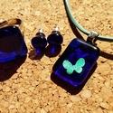 Kék pillangós szett, Ékszer, Ékszerszett, Üvegolvasztással készült medál, gyűrű és füli, melyhez spektrum  üveget használtam fel. A..., Meska