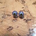 Kék virág füli , Ékszer, Fülbevaló, Millefiori gyöngyből üvegolvasztással készült füli.  Átmérője: 6 mm.  Postázás buboréko..., Meska