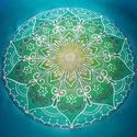 Azúr mandala - A gyógyító erő, 50x50 cm-es falikép, Otthon, lakberendezés, Képzőművészet, Falikép, Festmény, Festészet, Selyemfestés, Azúr mandala - A gyógyító erő  A színgyógyítás nem egy új dolog, már az ősi Egyiptomban is voltak s..., Meska