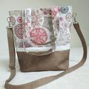 Női táska, Táska & Tok, Kézitáska & válltáska, Varrás, Textilbőr, dekorvászon válltáska. Vastag, minőségi, puha tapintású textilbőrből, egyedi dekorvászon..., Meska