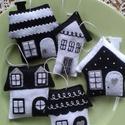 Fekete-fehér filc karácsonyfadíszek, 5 db, Dekoráció, Otthon, lakberendezés, Dísz, Fekete-fehér filc karácsonyfadíszek. 5 db. Méretük: kb. 7-8 cm. Az ár együtt az 5 db-ra vonat..., Meska