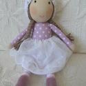 Léna baba, Játék, Léna teljes egészében kézzel varrott,saját tervezésű textilbaba. 35cm,szemét,száját hímeztem,testét ..., Meska