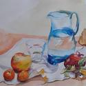 Tiszta víz,  akvarell kép, Esküvő, Képzőművészet, Otthon, lakberendezés, Dekoráció, Festészet, A csendélet akvarell technikával, akvarell papírra, növényi festékkel készült. Mérete: 38x46 cm, pa..., Meska
