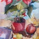 Miklós nap, akvarell kép, papír, 35x50cm, Képzőművészet, Otthon, lakberendezés, Dekoráció, Festészet, A csendélet akvarell technikával, akvarell papírra, növényi festékkel készült. Mérete: 38x46 cm, pa..., Meska