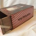 Fiókos csokis doboz. , Dekoráció, Konyhafelszerelés, Otthon, lakberendezés, Tárolóeszköz, Rendelésre készült ez a fiókos csokis doboz, de más mintával konyhai tároló, fűszeres is lehet. Mére..., Meska