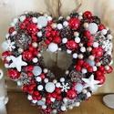 Karácsonyi kopogtató. , Otthon, lakberendezés, Karácsonyi, adventi apróságok, Ajtódísz, kopogtató, Karácsonyi dekoráció, Piros-fehér, szív formára készített karácsonyi ajtódísz.  Méret:28*25 Karácsonyi tárgyakról, díszekr..., Meska