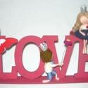 LOVE- szerelmes pár gyapjúból, Szerelmeseknek, Férfiaknak, Otthon, lakberendezés, Szerelmes királyfi és királylány Tökéletes ajándék lehet nőnapra, valentin napra.    A pár kb. 9-10 ..., Meska
