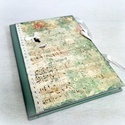 Country zöld hangjegyes Napló A/5, Naptár, képeslap, album, Jegyzetfüzet, napló, Scrapbook papírral, akril festékkel, különböző különleges kiegészítőkkel készített A/5-..., Meska