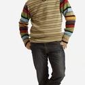 V-nyakú,csíkos férfi pulóver, Ruha, divat, cipő, Férfi ruha, L-es méretű, hosszúujjas pulóver, színcsíkos ujjal, kifejezetten vidám, színes lelkületű f..., Meska