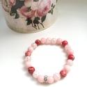 Rózsaszín álom!, Ékszer, Karkötő, Rózsaszín álom!  Piros Regalit, halvány rózsaszín Jade és rózsaszín roppantott Hegyikristály karkötő..., Meska
