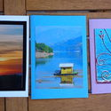 3 db kinyitható képeslap saját fotóval: naplemente, tájkép, ablak a tengerre, Naptár, képeslap, album, Képzőművészet, Képeslap, levélpapír, Fotográfia, Fotó, grafika, rajz, illusztráció, Papírművészet, Saját fotókból készítettem ezeket a kinyitható képelapokat - ha még nemszippantott be teljesen a di..., Meska