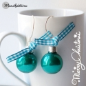 Karácsonyi gömb - fülbevaló /türkiz fényes, Az adventi és a karácsonyi időszak slágere vis...