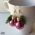 Karácsonyi gömb fülbevaló: Fényes rózsaszín, Karácsonyi gömb fülbevaló: fényes rózsaszín...