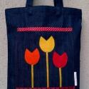 Piros tulipános farmer táska, Táska, Szatyor, Varrás, Kisgyerekes, dolgozó anyaként tudom, hogy a szép ridikül mellé mindig kell egy jól pakolható mutató..., Meska