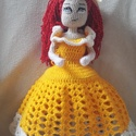 Horgolt baba, Játék, Baba, babaház, Horgolás, 35 cm magas horgolt hercegnő. Teste és feje pamutból készül, haja és ruhája akrilból. A testében dr..., Meska