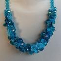 Kék lánc, Ékszer, óra, Nyaklánc, Kék lánc.   Anyaga: kagyló, üveg, kristály  Szín: kék  Méret  : 42 cm +hosszabító         ..., Meska