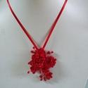 Piros   rózsás ,  lánc, Esküvő, Esküvői ékszer, Különleges menyecske lánc. Az ékszer anyaga, gyöngy, levél,textil  csipke,textil virág.  Szí..., Meska