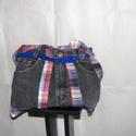 Kockás, farmer táska, Táska, Válltáska, oldaltáska, Fekete farmer nadrágból készült, az eredeti zsebeket felhasználva elől, hátul zsebek vannak r..., Meska