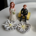 Hegymászós pár cukor havasi gyopárral (2db virág), Esküvő, Esküvői dekoráció, Nászajándék, Ha úgy érzed, hogy feldobnád az Esküvőd valami igazán egyedivel, akkor a legjobb helyen jársz! :) Eg..., Meska