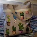 Kaktuszos, Táska, Válltáska, oldaltáska, Szatyor, Kaktuszmintas szatyor vagy taska neretei: 37 x 36 x 8 cm. Fule( heveder)45cm .A taska belelt amin eg..., Meska