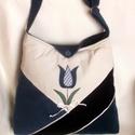 Tulipános táska, Táska, Válltáska, oldaltáska, Háromszínű kordbársony táska. Bélése kék selyem, egy cipzáras és egy rávarrt zsebbel. Mé..., Meska