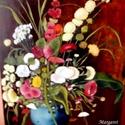 Csendélet, Képzőművészet, Festmény, Olajfestmény, Festészet, Virágos csendélet, Munkácsi festménye alapján. 42x60 cm, olaj,  farost., Meska