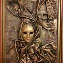 Maszk, Dekoráció, Otthon, lakberendezés, Kép, Falikép, 40x28 cm paverpol technikával készült falikép. MDF lapra  speciális ragasztóval rögzítettem ..., Meska