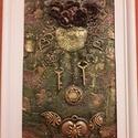 Álomfogó, Dekoráció, Otthon, lakberendezés, Kép, Falikép, 23x33 cm paverpol technikával készült kép. MDF lapra fóliát, struktúrpasztát, fém tárgyaka..., Meska