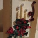 Quilling karácsonyi üdvözlőlap, Naptár, képeslap, album, Képeslap, levélpapír, Ajándékkísérő, Papírművészet, Quilling technikával készült üdvözlőlap, 10 x 15 cm-es, kihajtható, belsejébe szöveg írható, akár n..., Meska