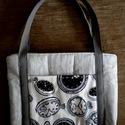 Elegáns kézitáska, Táska, Szürke-fehér-fekete színű textilekből készített design kézitáska, elegáns, mégis praktiku..., Meska