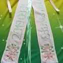 Vőfély szalag, Esküvő, Esküvői dekoráció, Kézzel hímzett vőfély szalag.  Mérete 2x10x70 cm A hímzés előnye a festett szalaggal szemben,hogy ne..., Meska
