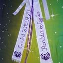 Vőfély szalag, Esküvő, Esküvői dekoráció, Kézzel hímzett vőfély szalag. Mérete kb.2x10x70 .  Készülhet csak a fiatalok nevével és az esküvő dá..., Meska