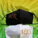 Ifjú  házasok maszk. , Géppel hímzett két rétegű mosható maszk