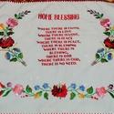 Angol nyelvű házi áldás , Otthon & Lakás, Dekoráció, Falra akasztható dekor, Hímzés, Horgolás, Kézzel hímzett autentikus angol nyelvű házi áldás. Mérete 40x55 cm, Meska