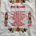 Angol nyelvű házi áldás , Kézzel hímzett angol nyelvű házi áldás. Mér...