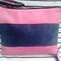 Mini táska bőrből és farmerból, Táska, Válltáska, oldaltáska, A táska eleje rózsaszín és kék bőrből készült. A hátulja kék farmer. A füle kék farmer ..., Meska