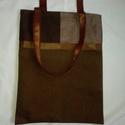 Kockás és pöttyös táska, Táska, Válltáska, oldaltáska, Tarisznya, Szatyor, Ennél a táskánál barna anyagot kombináltam kockás és pöttyös vászonnal. Az elejére és a ..., Meska