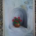 Görög ablak, Képzőművészet, Kép, Festmény, Olajfestmény, Festészet, Görög ablak mérete: 41cmx54cm fa léc keretben.  Rétegelt falemezre. olajjal festve., Meska