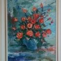 Rózsák, Képzőművészet, Kép, Festmény, Olajfestmény, Festészet, Farost lemezre,olaj festmény,mérete: 40cm*50 cm, 4 cm-es fehér,arany fa kerettel., Meska