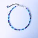 Kék bokalánc, Ékszer, óra, Bokalánc, Csomózás, Ékszerkészítés, A bokaláncot kék és ehhez harmónizáló színű gyöngyökből alkottam meg. A gyöngyök erős damilszálon s..., Meska