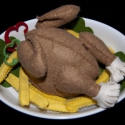 Sült csirke , Játék, Készségfejlesztő játék, Gyapjúfilcből sült krumplival készült grill csirke.A babakonyha egyik legszebb készétele lehe..., Meska